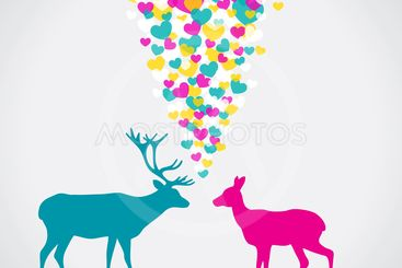 Two deers, love colorful card. Can be used for postcard,...