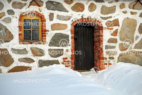 Gamle sten snoretræk i vintertid