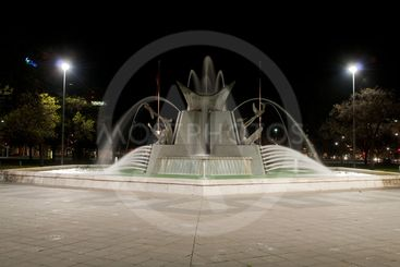 Victoria Square Fountain at night