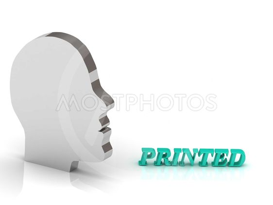 PRINTED bright color letters and silver head mind