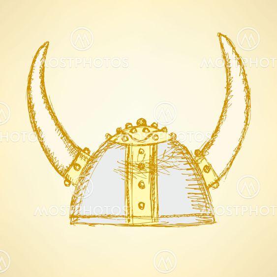 Sketch cute viking helmet