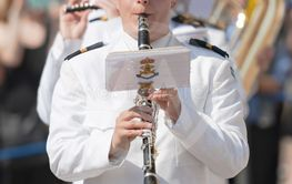 Opening of the royal castle in Stockholm, music corps in...
