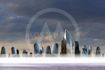Cityscape background with light