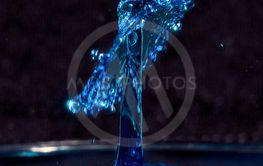 Close up of blue water drops colliding, creating a crown...