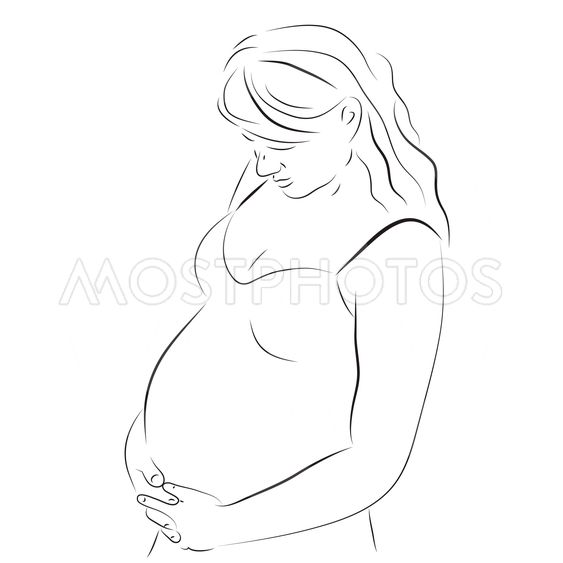 Young pregnant woman sketch
