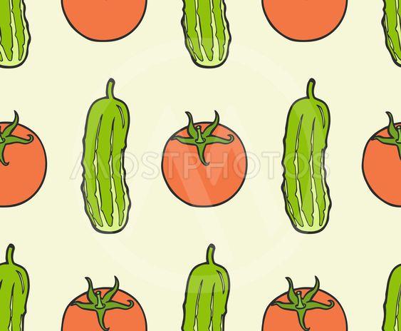 seamless pattern from vegan food - tomato, cucumber