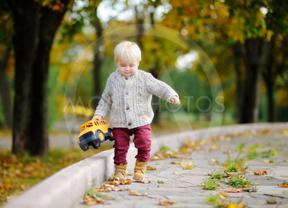 Toddler playing with toy car in autumn park
