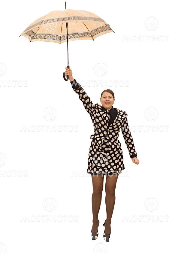 flying woman with umbrella