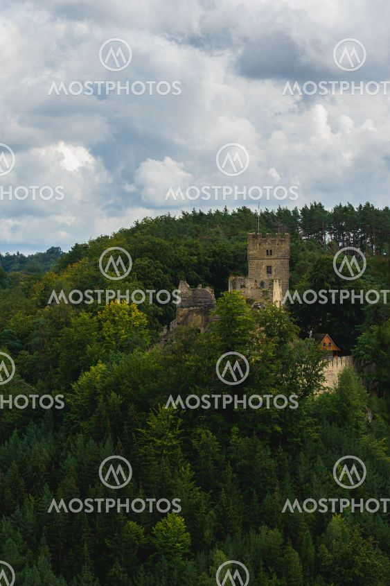 View on the keep of historical ruin of castle Helfenburk