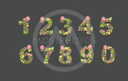 Vector Hand Drawn floral numbers monograms or logo....