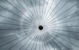 Abstract steel structure with lines and a dot