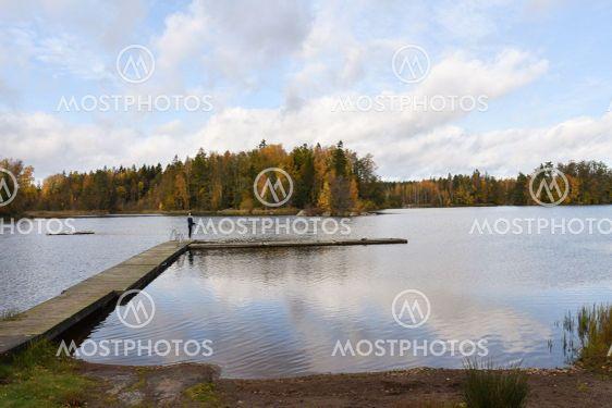 Idylliskt vid Hornsö badplats i Småland