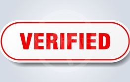 verified sign. verified rounded red sticker. verified
