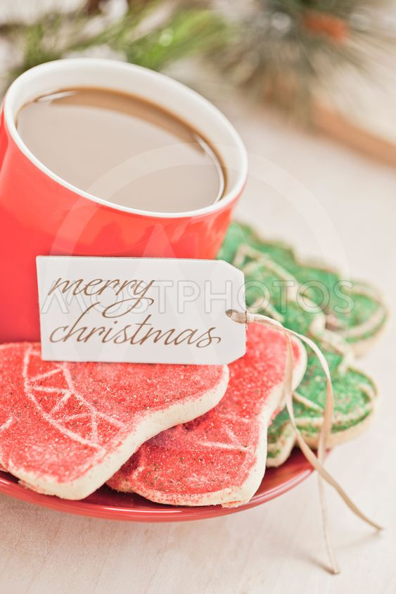 hot coffee with christmas cookies  and greeting card