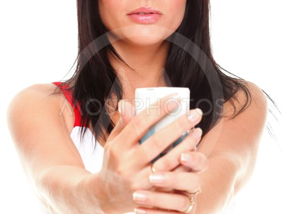 beautiful young woman with phone isolated