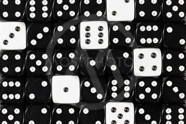 Background of random ordered black dices with six white...