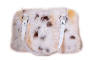Fur bag isolated on white background