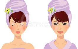 cute girl with towel on head before and after spa...