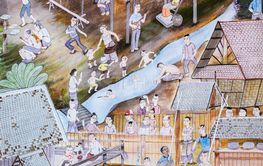 Thai Lanna mural painting of Thai people life in the...