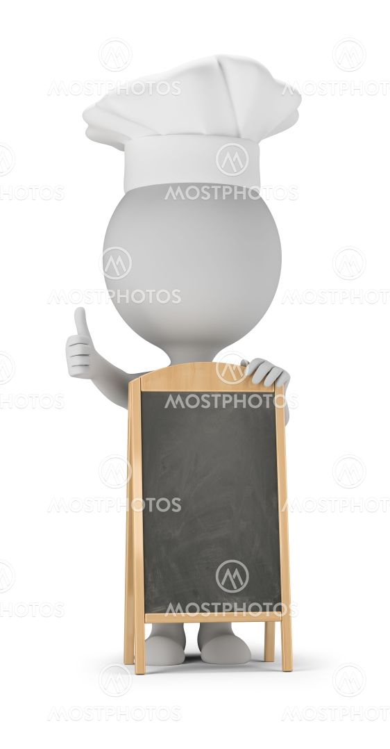 3d small people - cook and menu board