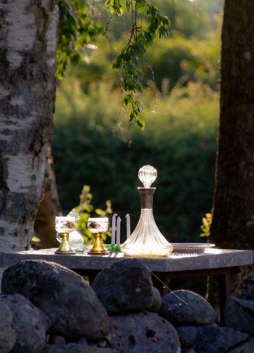 Kreativ strädgårdskonst, trädgård vinkaraff - Silvertid