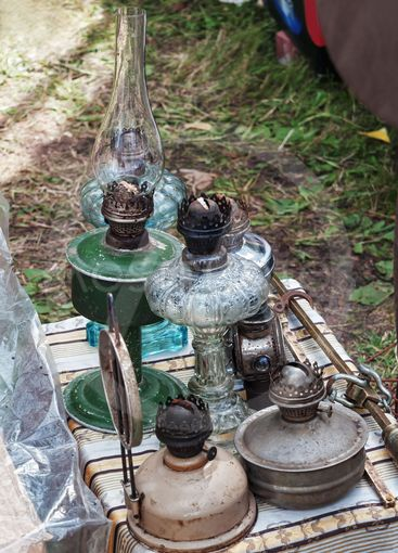 Old oil lamps set.