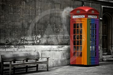 Gay painted British phone booth in London, United Kingdom