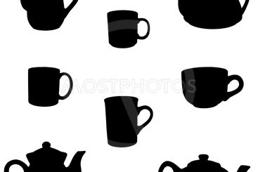 teapots and cups silhouette