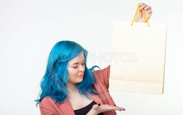 Sale, shopaholic and consumer concept - beautiful girl...