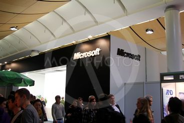 HANNOVER, GERMANY - MARCH 10: stand of Microsoft on March...