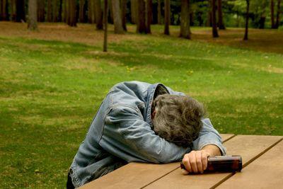 drunk man in park