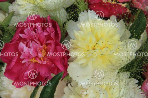 Yellow/white and pink peony wedding arrangement