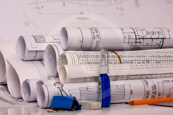 Rolled  engineering plan
