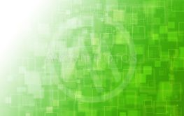 Green with square abstract background.