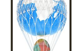 Hot Air Balloon of Earth with  Easter egg.  Global Easter...