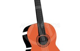 guitar drawing on white background, vector illustration