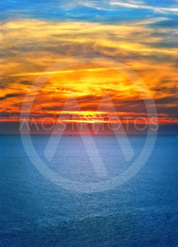 Background of Sunset Sky and Sea beautiful scenery with...