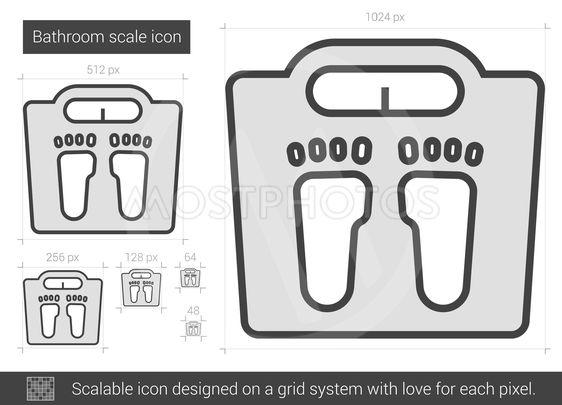 Bathroom scale line icon.