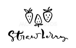 Hand drawn calligraphy text Strawberry and three outline...