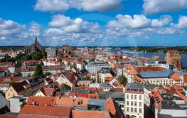 View to the hanseatic town Rostock, Germany