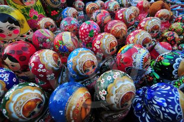 Russian Matryoshka Dolls for sale in Red Square, Moscow