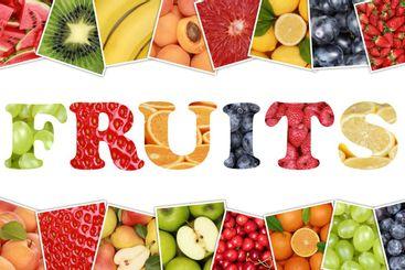 Word Fruits with apple, orange, lemon