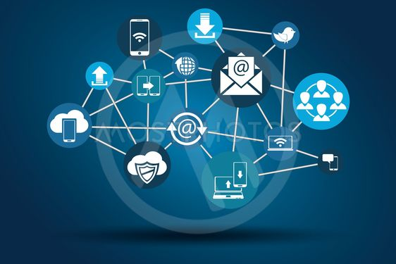 Graphic Vector Network Communication blue
