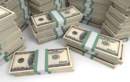 One hundred dollar banknotes background.