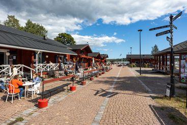 LOVIISA, FINLAND - 04-08-2021: Old wooden buildings...