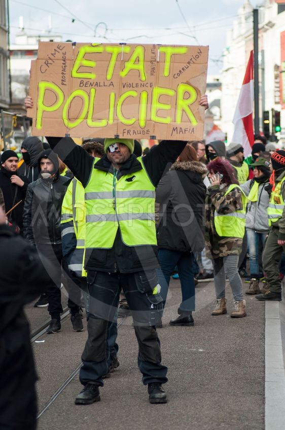 people protesting in the street against police violence...