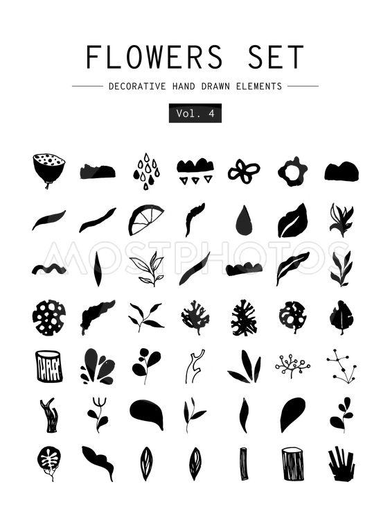Set decorative hand drawn elements