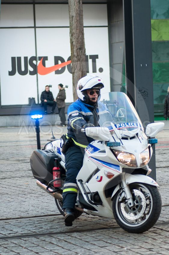 biker of the national police making the traffic, during...