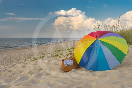 Umbrella and picnic basket against wild beach