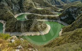 Clear and cleen river Uvac in Serbia with meanders